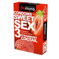 ПРЕЗЕРВАТИВЫ DOMINO SWEET SEX STRAWBERRY COCTAIL 3штуки (оральные)