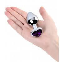 Анальный страз Metal by TOYFA, металл, серебристый, с кристаллом цвета аметист, 8 см, Ø 3,4 см, 85 г
