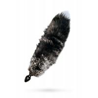 Анальная втулка с черным хвостом чернобурка 32мм