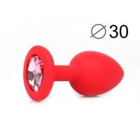 ВТУЛКА АНАЛЬНАЯ, L 72 мм D 30 мм, красная, цвет кристалла розовый, силикон, арт. SF-70600-02