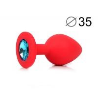 ВТУЛКА АНАЛЬНАЯ, L 80 мм D 35 мм, красная, цвет кристалла голубой, силикон, арт. SF-70601-05