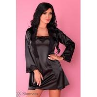 пеньюар, сорочка  и трусики  Jacqueline чёрный L\XL черный