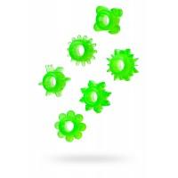 Набор колец на пенис TOYFA, ПВХ, зеленый, 6 шт, Ø2 см