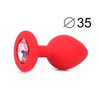 ВТУЛКА АНАЛЬНАЯ, L 80 мм D 35 мм, красная, цвет кристалла розовый, силикон, арт. SF-70601-02