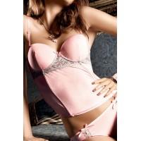 Dolce Vita Бюстье розовый со светло-серыми кружевными аппликациями;  SM