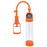 Вакуумная помпа мощная с манометром, 20 см, оранжевая 768001-11