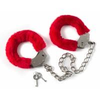 Меховые оковы на ноги BONDAGE красные 1020-02lola