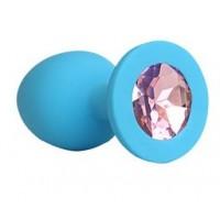 ВТУЛКА АНАЛЬНАЯ синяя, цвет кристалла розовый, силикон, L 73 мм, D 30 мм, арт. SF-70191-02