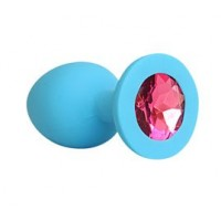 ВТУЛКА АНАЛЬНАЯ синяя, цвет кристалла рубиновый, силикон, L 73 мм, D 30 мм, арт. SF-70191-14