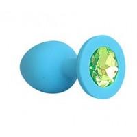 ВТУЛКА АНАЛЬНАЯ синяя, цвет кристалла светло - зелёный, силикон, L 73 мм, D 30 мм, арт. SF-70191-10