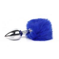 ВТУЛКА АНАЛЬНАЯ (С ХВОСТИКОМ) цвет хвостика синий, L 65 мм D 27 мм, арт. NTU-80325-13