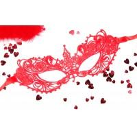 МАСКА АЖУРНАЯ КЭРОЛИН цвет красный, текстиль арт. EE-20357-3