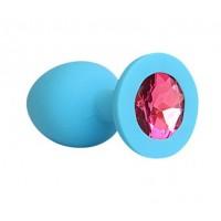 ВТУЛКА АНАЛЬНАЯ синяя, цвет кристалла рубиновый, силикон, L 95 мм, D 40 мм, арт. SF-70291-14