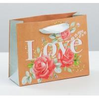 Пакет горизонтальный крафтовый Цветочная любовь, S 15 × 12 × 5.5 см