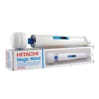 Вибромассажер, Magic Wand HV-250R, Hitachi, силикон, белый + Насадка синяя