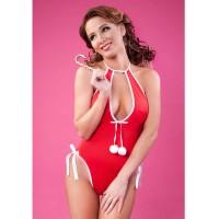 Боди новогоднее Erolanta Lingerie Collection с помпонами, красно-белое, S/L 951006
