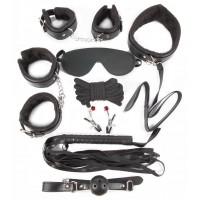 КОМПЛЕКТ (наручники, оковы, маска, кляп, плеть, ошейник с поводком, верёвка, зажимы)NTB-80330
